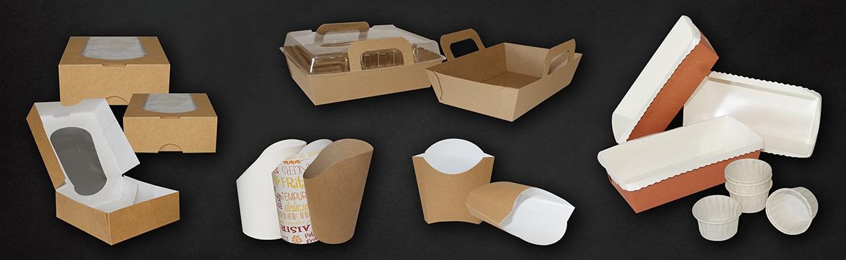 Barquettes et pots en carton (Frites, wraps, salade) - Ateliers Porraz