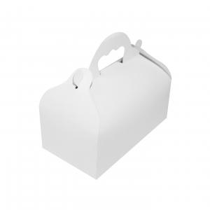 Boite à gâteau avec poignées, carton blanc, 18x16x7cm / Par 50