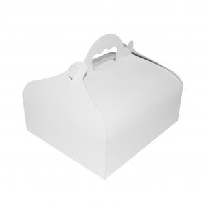 Boîte à gâteau avec poignée, carton blanc, 20x18x7cm / Par 50