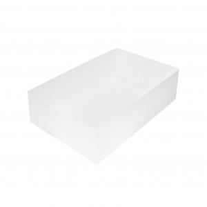 Boîte à gâteau sans couvercle (Caissette pâtissière), carton blanc, 22x14x5cm / Par 100
