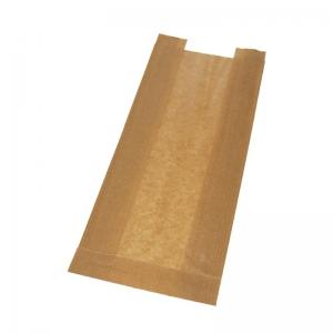 Sac à pain kraft brun (15x6x37cm) avec fenêtre