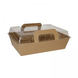 Boîte snacking kraft brun avec couvercle transparent (17x11x7cm) / Par 100