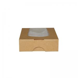 Boîte snacking kraft brun avec fenêtre (12x12x4cm) / Par 50