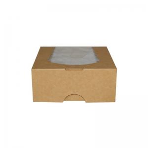 Boîte snacking kraft brun avec fenêtre (14x14x6cm) / Par 50