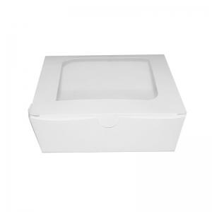 Boîte salade kraft blanc avec fenêtre (16x16x4,5cm) / Par 240