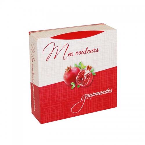 Boîte à gâteau carton blanc, couleur rouge, 16x5cm