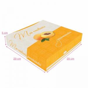 Boite à gâteau carton blanc, couleur orange, 29X5cm / Par 50