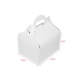 Boîte à gâteau avec poignée, carton blanc, 10x12x7cm / Par 50