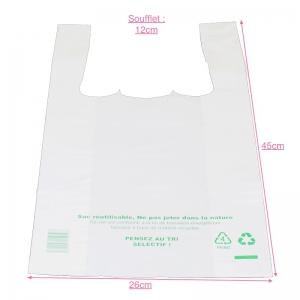 Sac bretelle blanc (26x6+6x45cm) réutilisable / Par 500