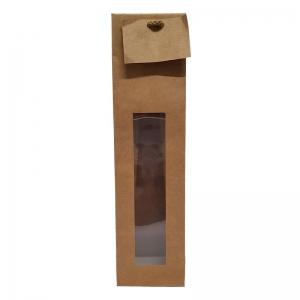 """Sac kraft brun fenêtre poignée cordelière """"1 Bouteille"""" (10x9x38cm) / Par 20"""