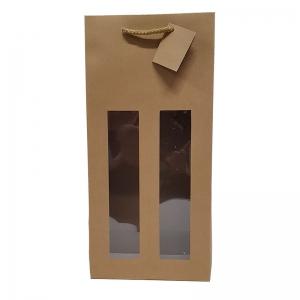 """Sac kraft brun fenêtre poignée cordelière """"2 Bouteilles"""" (18x9x38cm) / Par 10"""