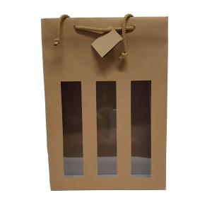 """Sac kraft brun fenêtre poignée cordelière """"3 Bouteilles"""" (27x9x38cm) / Par 10"""