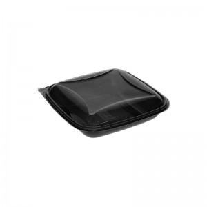 """Barquette noire plastique avec couvercle séparé (750ml) """"Crudipack-CRO750N"""""""