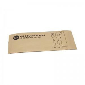 Kit couverts en bois (3 éléments) / Par 100