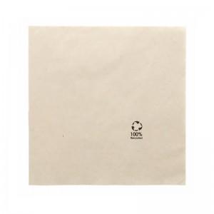 Serviette en papier marron recyclé 33x33cm (2 plis) / Par 100