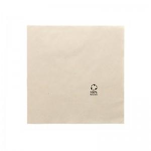 Serviette en papier marron recyclé 20x20cm (2 plis) / Par 100