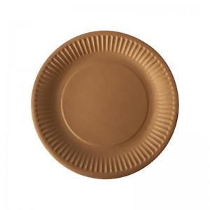 Assiette ronde carton brun (23cm) / Par 100