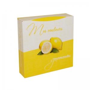 Boite à gâteau carton blanc, couleur jaune, 20x5cm / Par 50