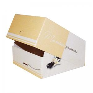 Boite à gâteau carton blanc, couleur beige, 16x8cm