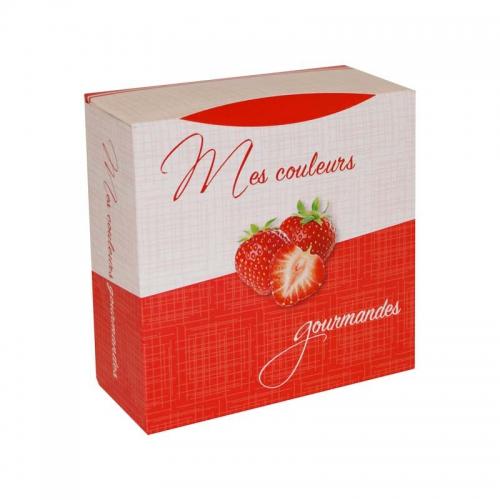 Boite à gâteau carton blanc, couleur rouge 18x8cm